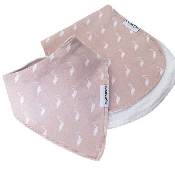 The Stork Box Bib & Burp Cloth Set