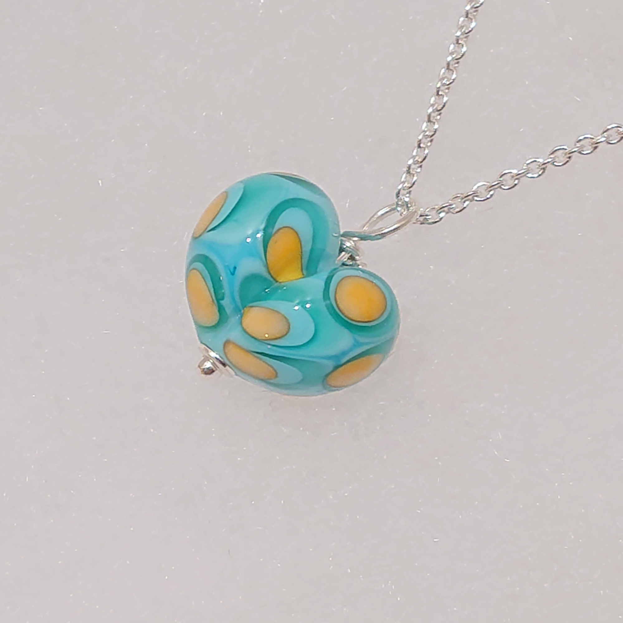Turquoise and Yellow Glass Heart Pendant