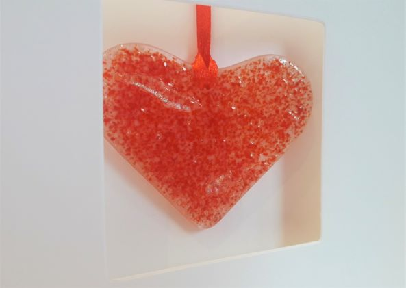 Heart gift in a card - Red fused glass
