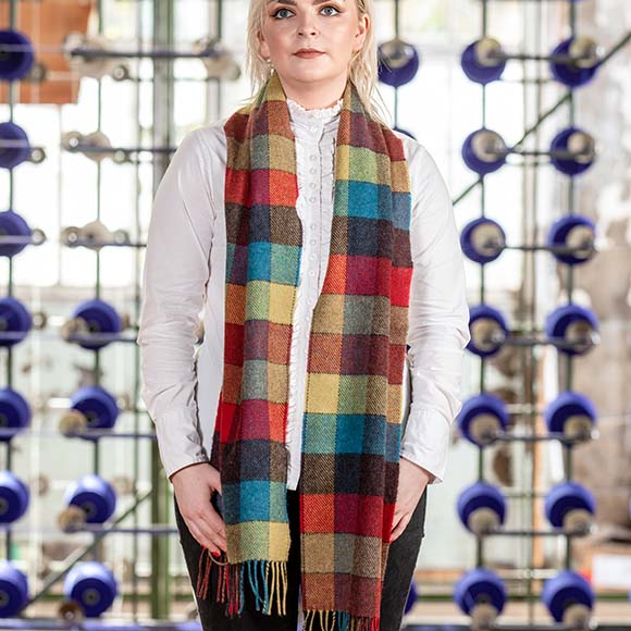 100% Lambswool Scarf, Coloured Check