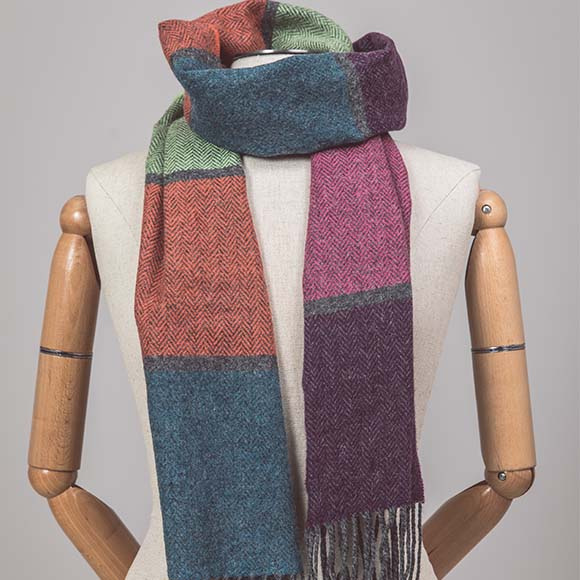 100% Lambswool Scarf, Muted Multicolour