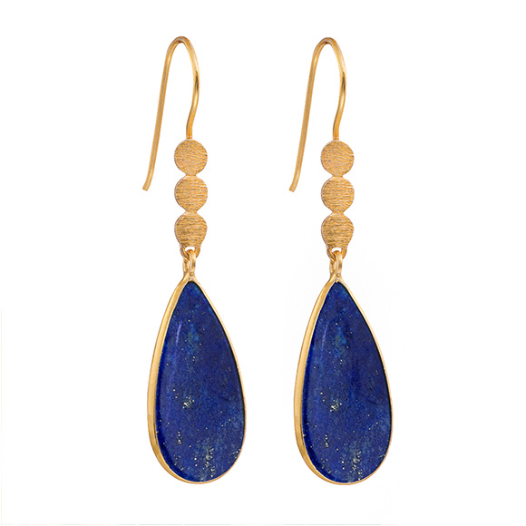 Juvi Three Little Disc Earring, Lapis