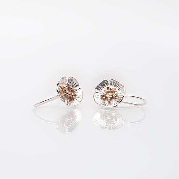 Wild Irish Rose Drop Earring, with rose gold centre