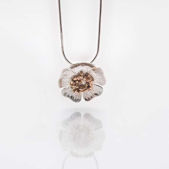 Wild Irish Rose Pendant, with Rose Gold